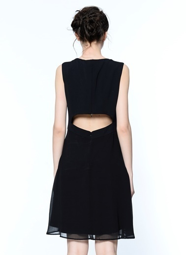 Random V Yaka Sırt Dekolteli Kısa Elbise Siyah